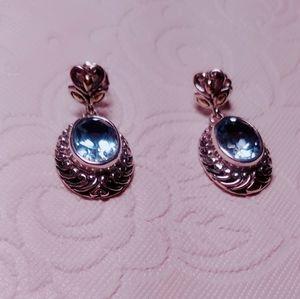 Swiss blue topaz earings set in 18k/SS